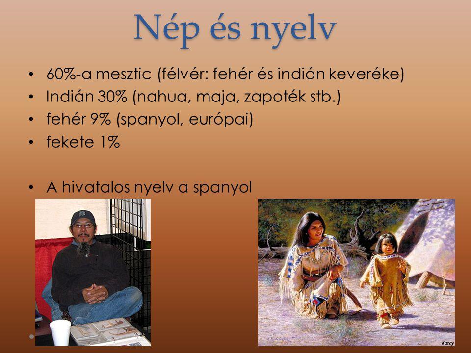 Nép és nyelv 60%-a mesztic (félvér: fehér és indián keveréke)
