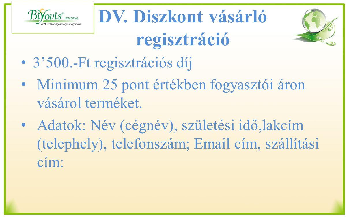 DV. Diszkont vásárló regisztráció