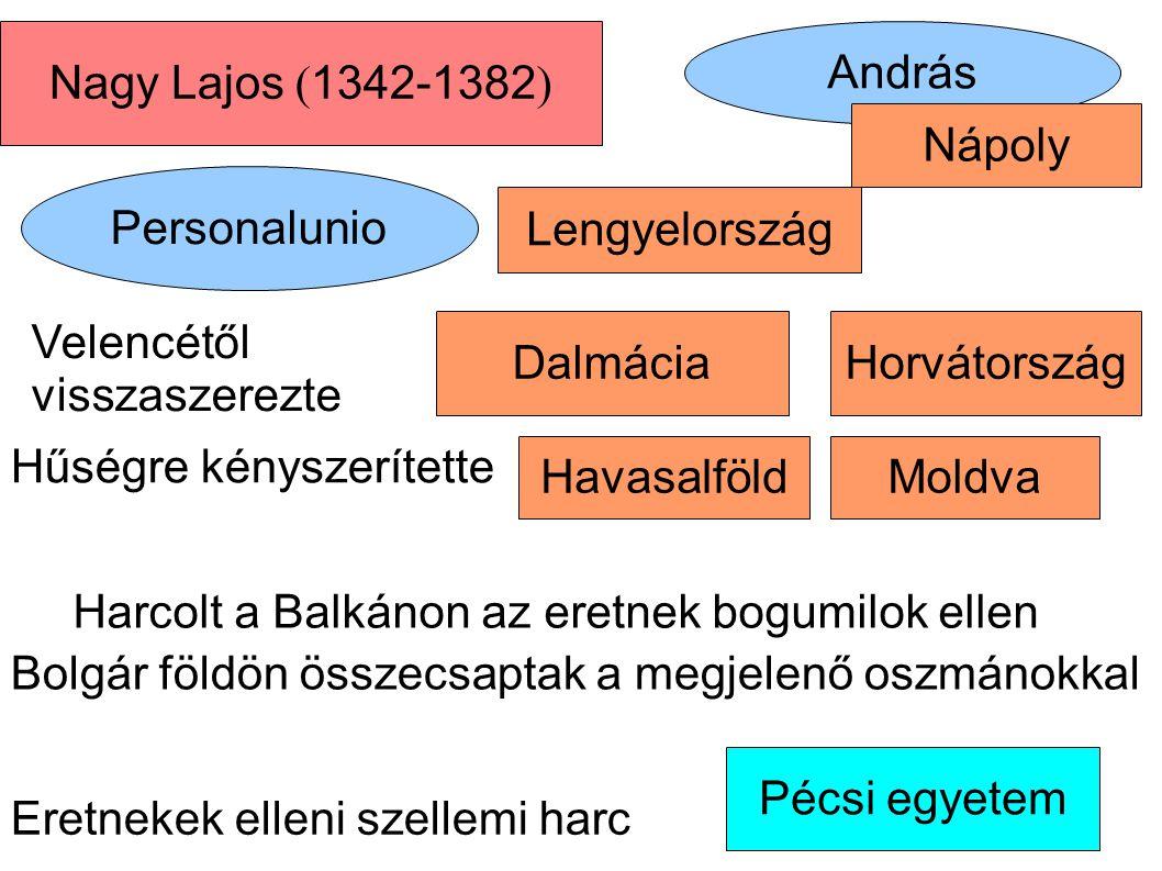 Nagy Lajos (1342-1382) András. Nápoly. Personalunio. Lengyelország. Velencétől visszaszerezte. Dalmácia.