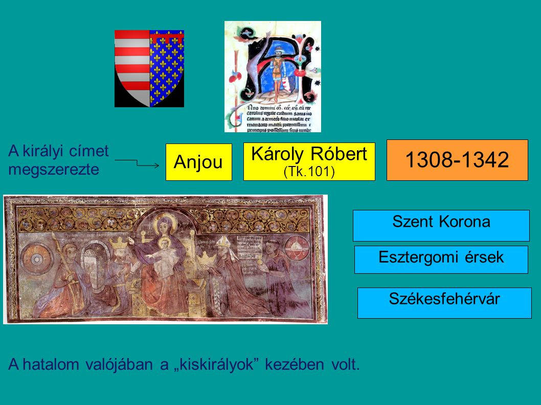 1308-1342 Károly Róbert Anjou A királyi címet megszerezte Szent Korona