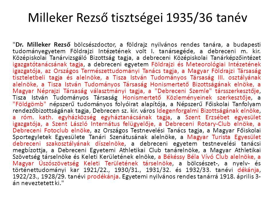 Milleker Rezső tisztségei 1935/36 tanév