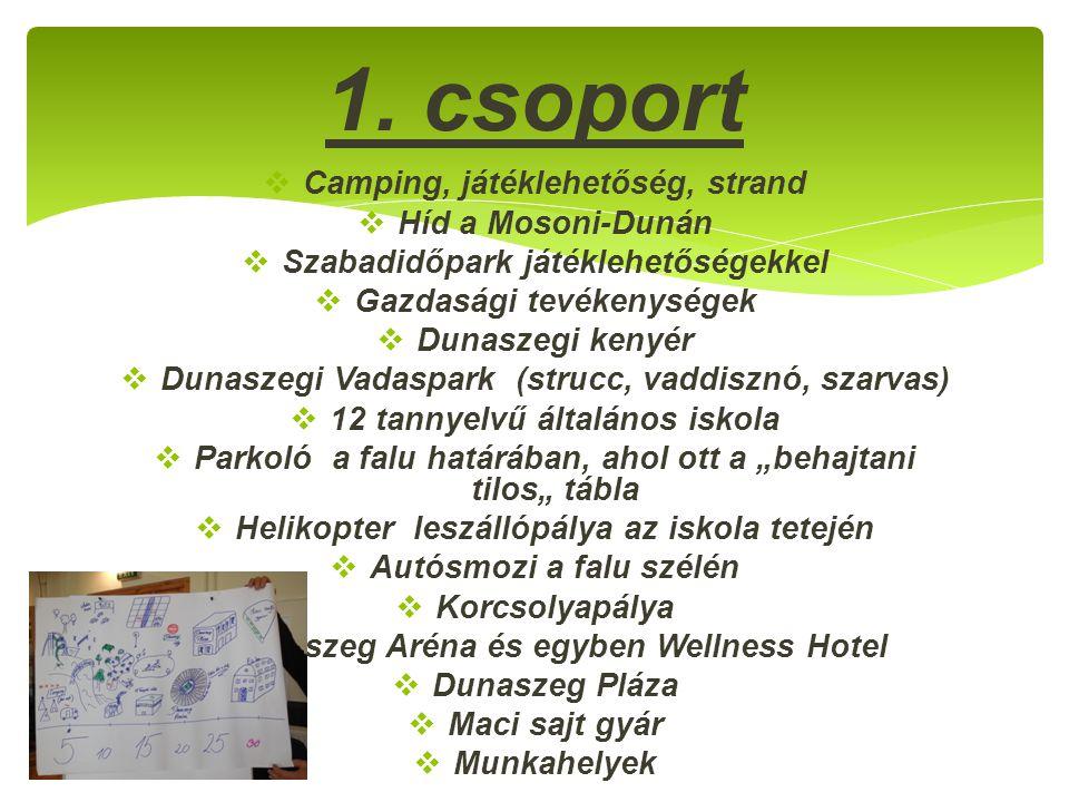 1. csoport Camping, játéklehetőség, strand Híd a Mosoni-Dunán