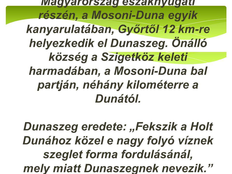 Magyarország északnyugati részén, a Mosoni-Duna egyik kanyarulatában, Győrtől 12 km-re helyezkedik el Dunaszeg.