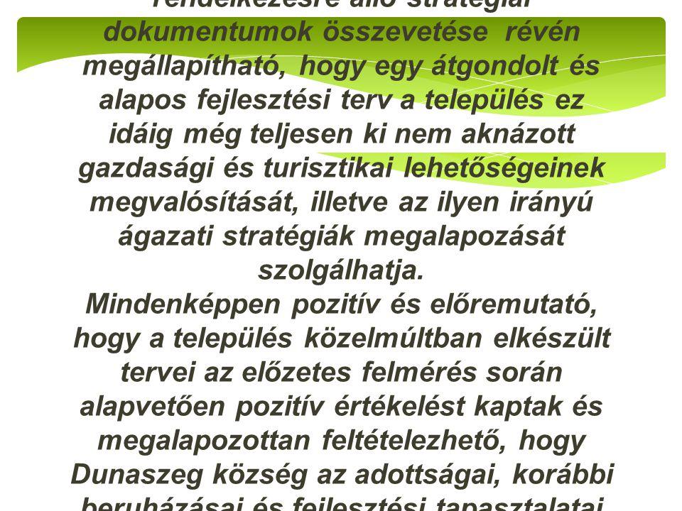 Dunaszeg település adottságai és a már rendelkezésre álló stratégiai dokumentumok összevetése révén megállapítható, hogy egy átgondolt és alapos fejlesztési terv a település ez idáig még teljesen ki nem aknázott gazdasági és turisztikai lehetőségeinek megvalósítását, illetve az ilyen irányú ágazati stratégiák megalapozását szolgálhatja.