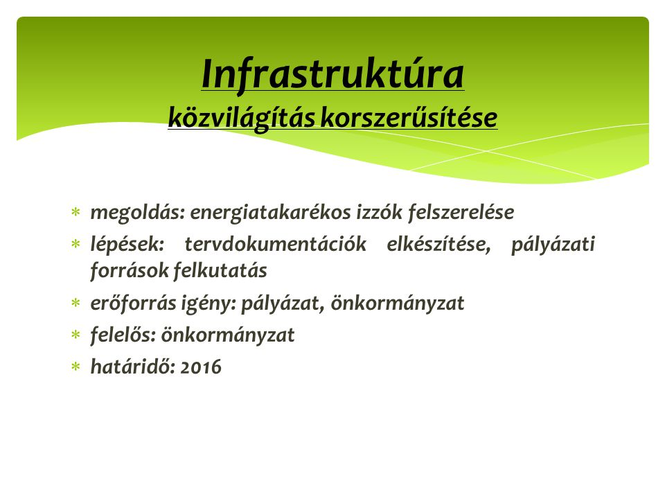 Infrastruktúra közvilágítás korszerűsítése
