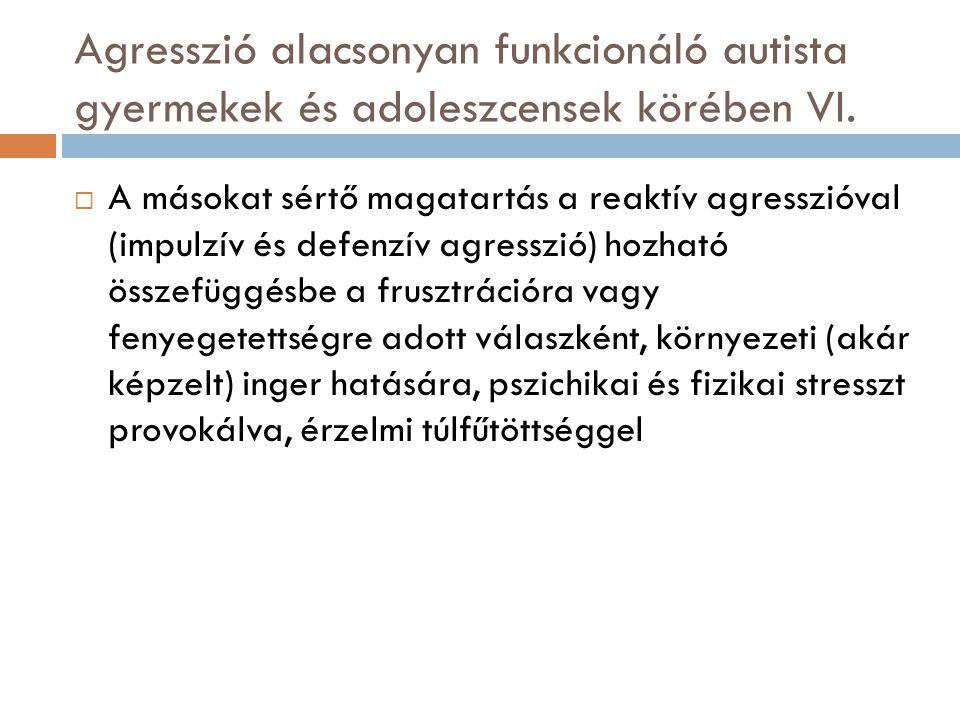 Agresszió alacsonyan funkcionáló autista gyermekek és adoleszcensek körében VI.