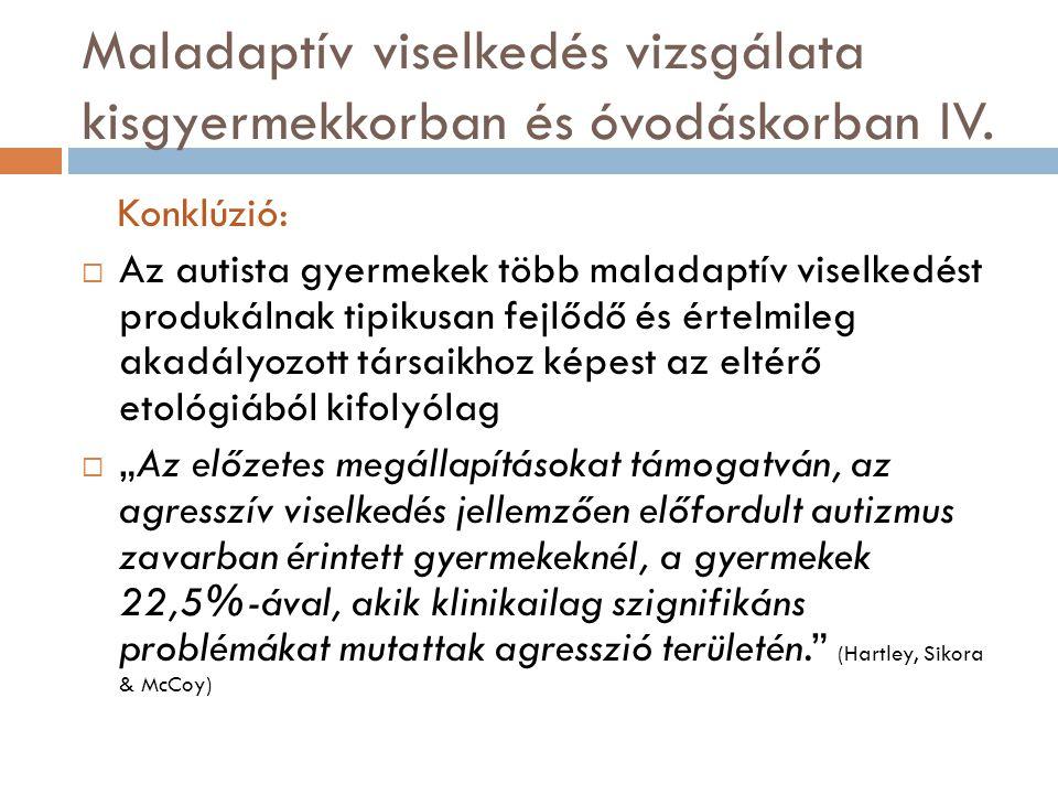 Maladaptív viselkedés vizsgálata kisgyermekkorban és óvodáskorban IV.
