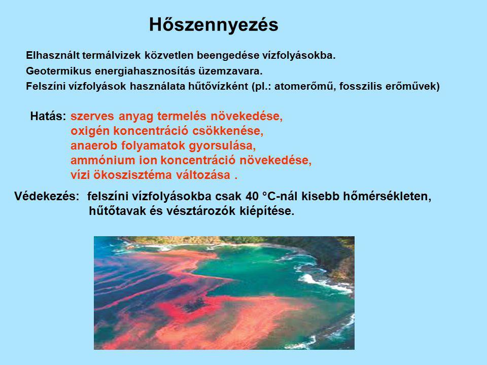 Hőszennyezés Hatás: szerves anyag termelés növekedése,