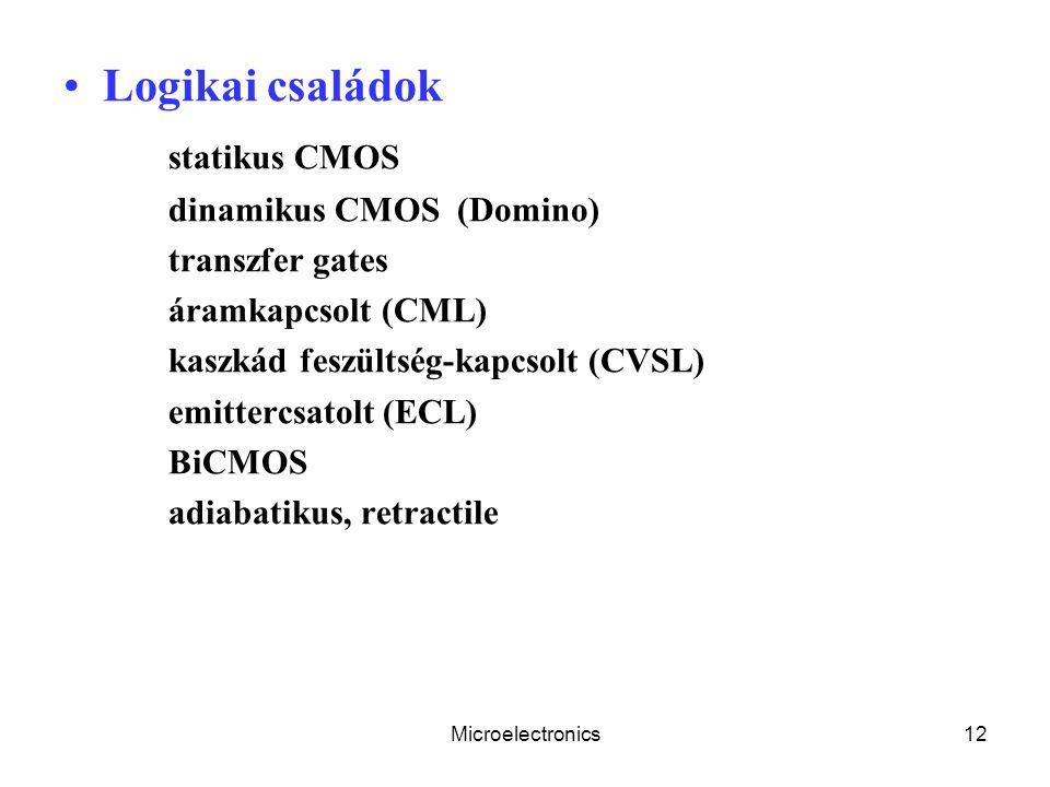Logikai családok statikus CMOS dinamikus CMOS (Domino) transzfer gates