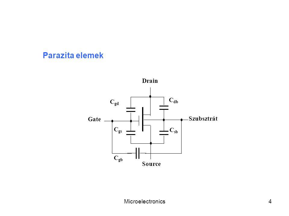 Parazita elemek Drain Cdb Cgd Gate Szubsztrát Cgs Csb Cgb Source
