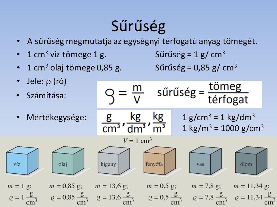 Sűrűség A sűrűség megmutatja az egységnyi térfogatú anyag tömegét.