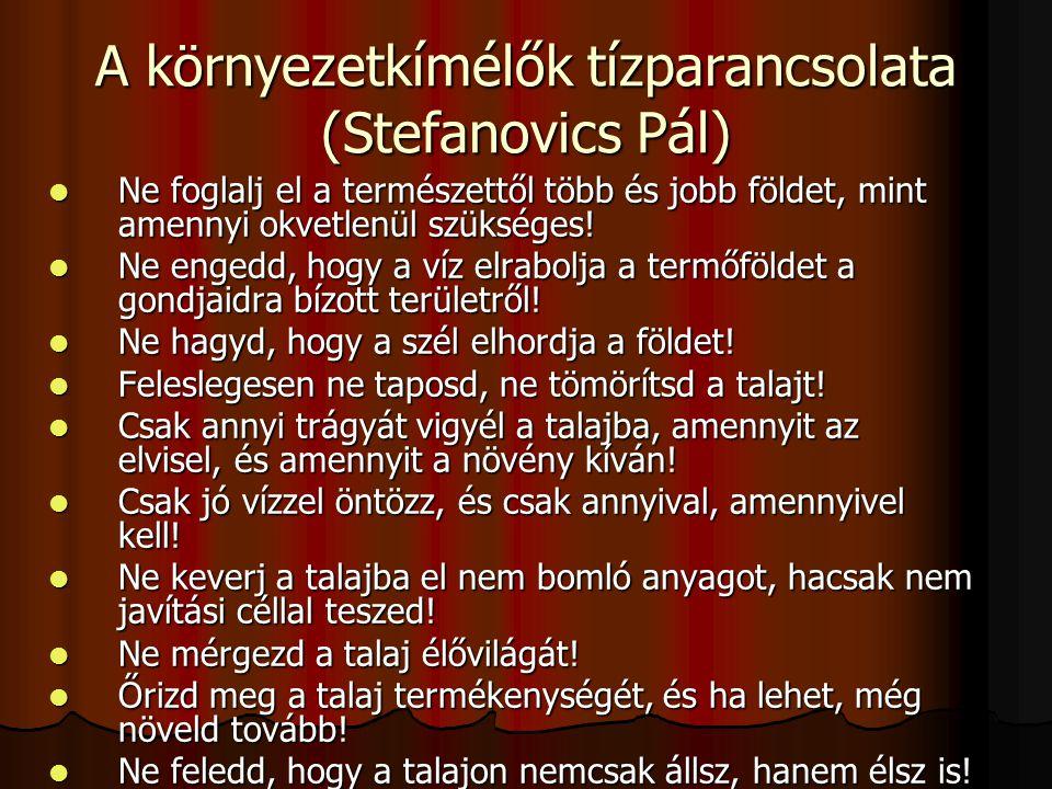 A környezetkímélők tízparancsolata (Stefanovics Pál)