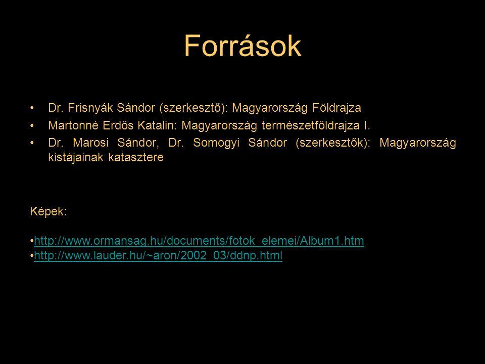 Források Dr. Frisnyák Sándor (szerkesztő): Magyarország Földrajza
