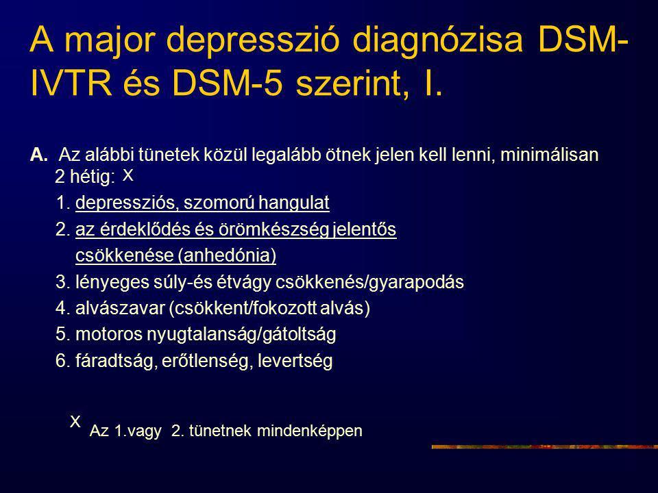 A major depresszió diagnózisa DSM-IVTR és DSM-5 szerint, I.