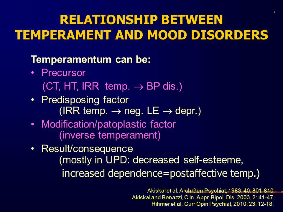 RELATIONSHIP BETWEEN TEMPERAMENT AND MOOD DISORDERS