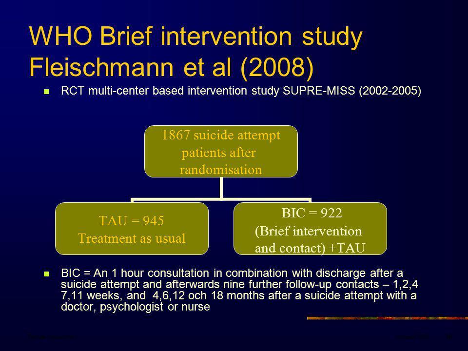 WHO Brief intervention study Fleischmann et al (2008)