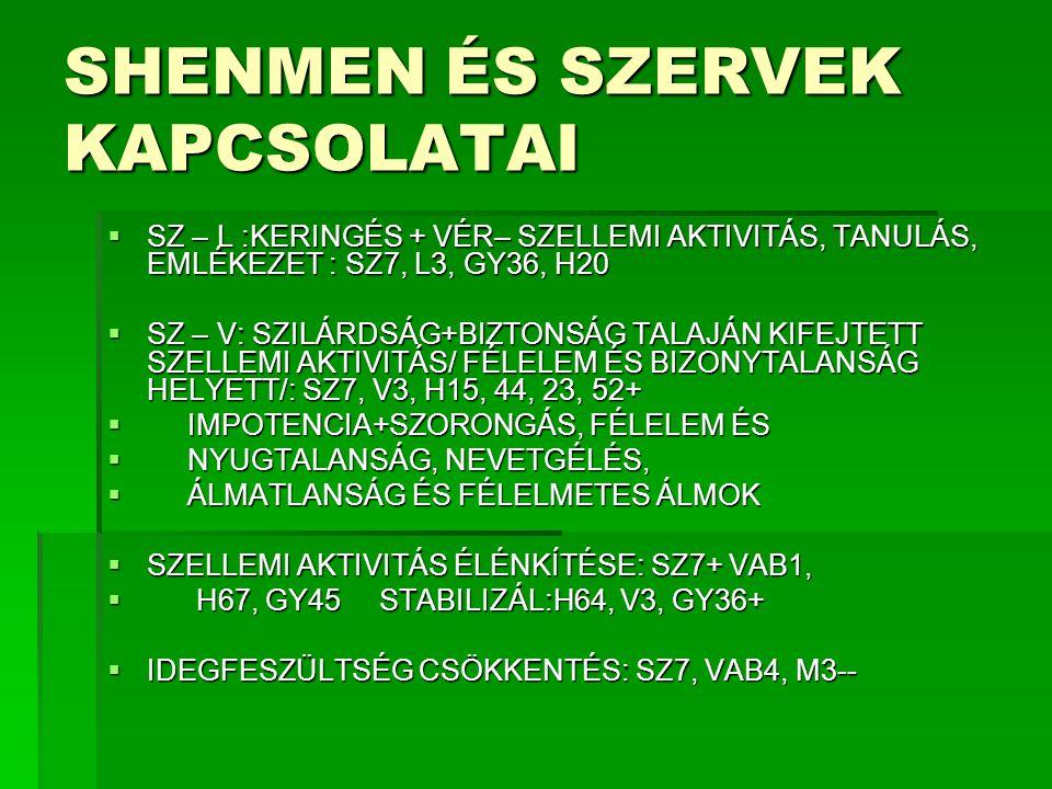 SHENMEN ÉS SZERVEK KAPCSOLATAI