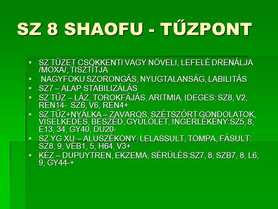 SZ 8 SHAOFU - TŰZPONT SZ TÜZET CSÖKKENTI VAGY NÖVELI, LEFELÉ DRENÁLJA /MOXA/, TISZTÍTJA. NAGYFOKU SZORONGÁS, NYUGTALANSÁG, LABILITÁS.