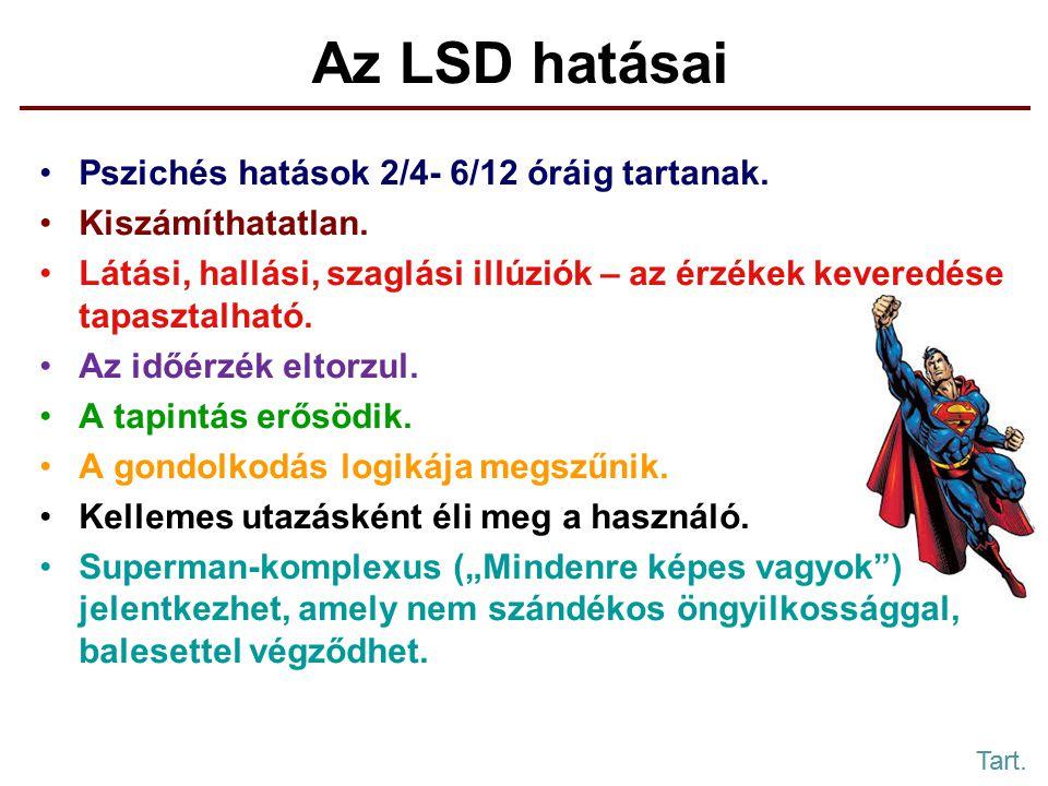 Az LSD hatásai Pszichés hatások 2/4- 6/12 óráig tartanak.