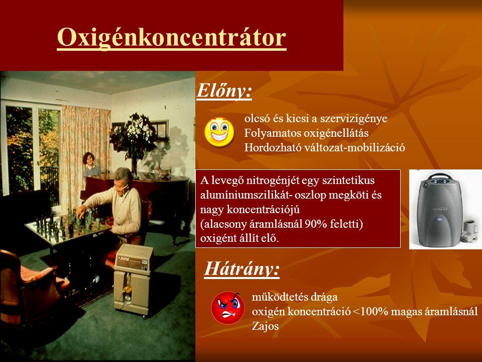 Oxigénkoncentrátor Előny: Hátrány: olcsó és kicsi a szervizigénye