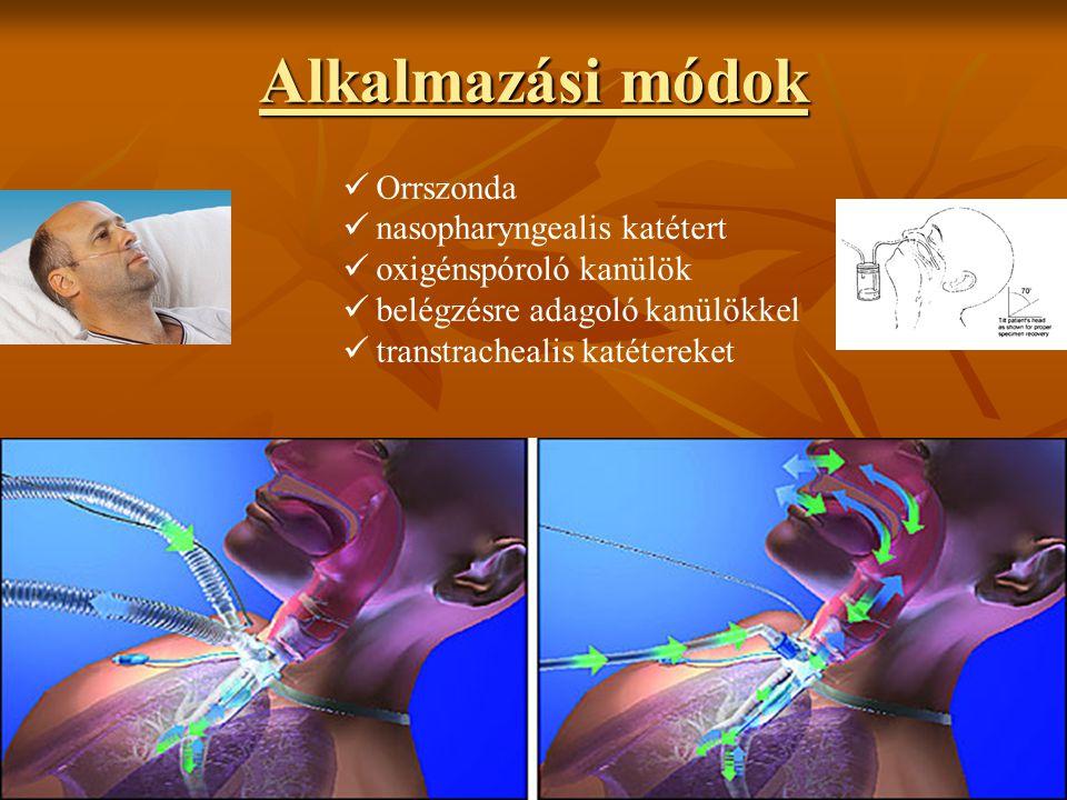 Alkalmazási módok Orrszonda nasopharyngealis katétert