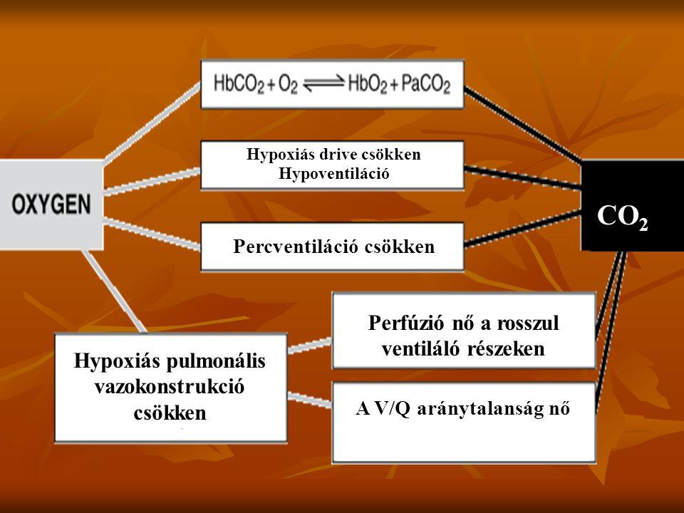 CO2 Perfúzió nő a rosszul ventiláló részeken