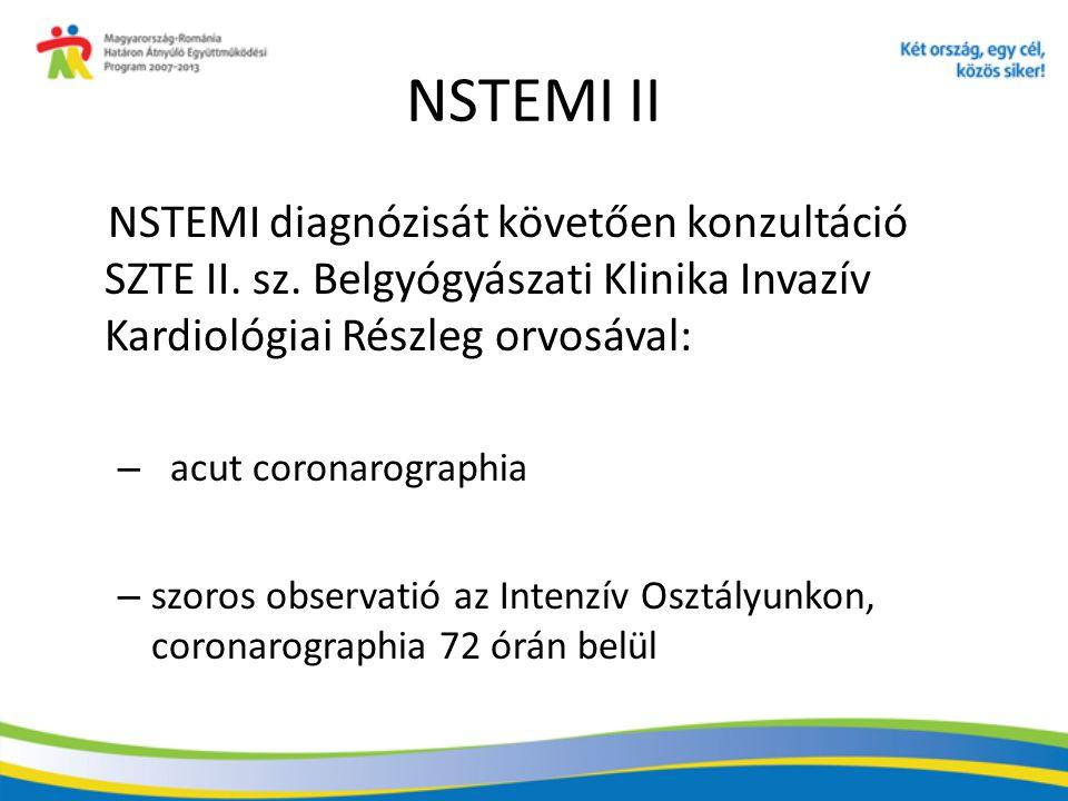 NSTEMI II NSTEMI diagnózisát követően konzultáció SZTE II. sz. Belgyógyászati Klinika Invazív Kardiológiai Részleg orvosával: