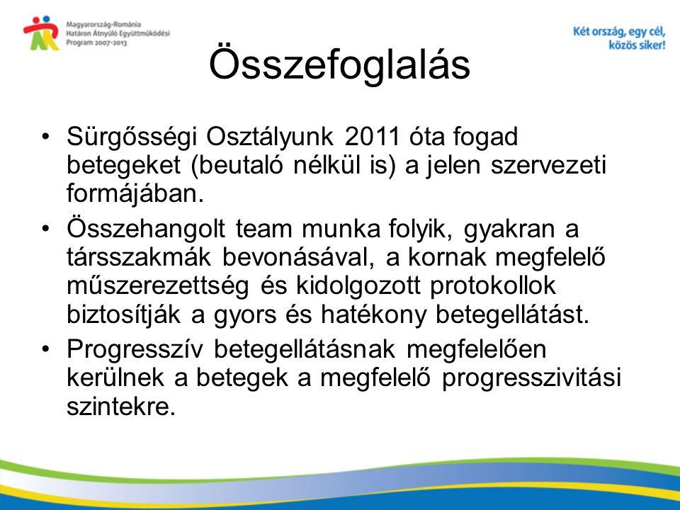 Összefoglalás Sürgősségi Osztályunk 2011 óta fogad betegeket (beutaló nélkül is) a jelen szervezeti formájában.