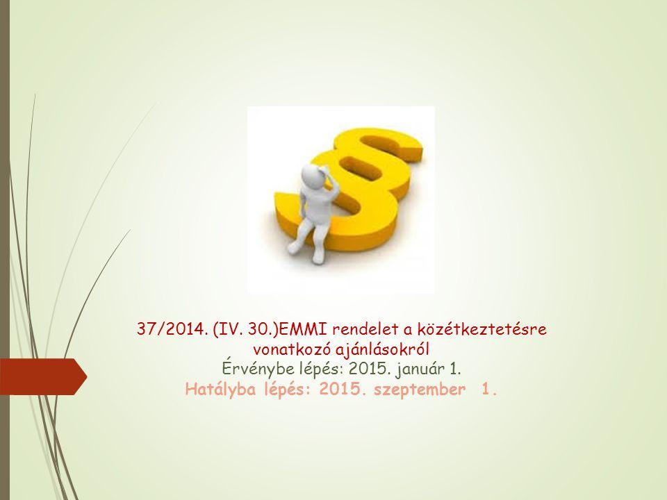 37/2014. (IV. 30.)EMMI rendelet a közétkeztetésre vonatkozó ajánlásokról Érvénybe lépés: 2015.