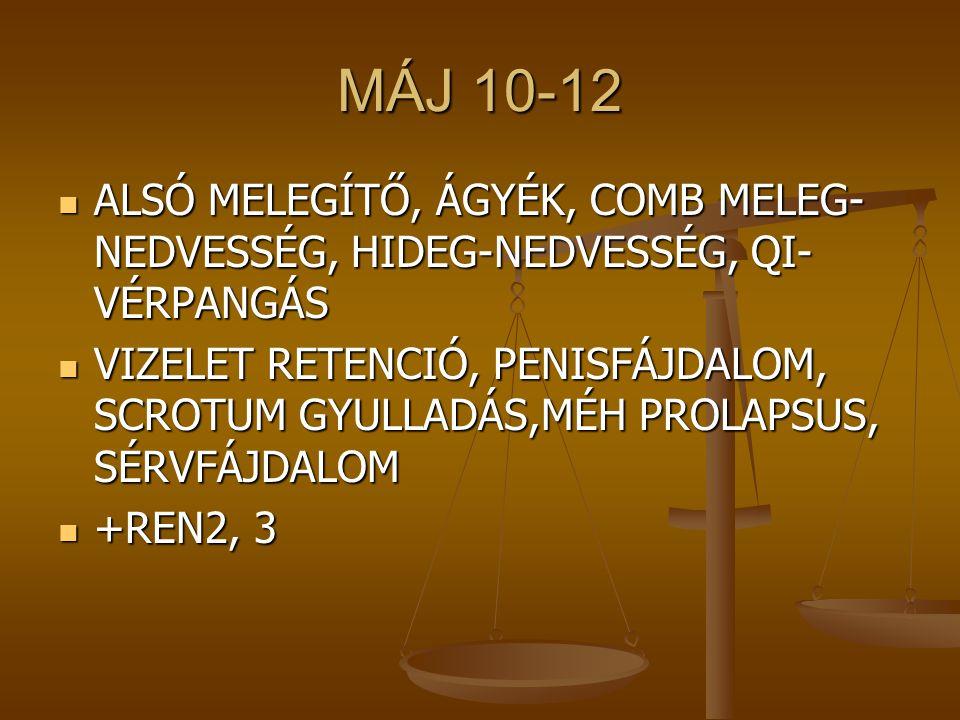 MÁJ 10-12 ALSÓ MELEGÍTŐ, ÁGYÉK, COMB MELEG-NEDVESSÉG, HIDEG-NEDVESSÉG, QI-VÉRPANGÁS.