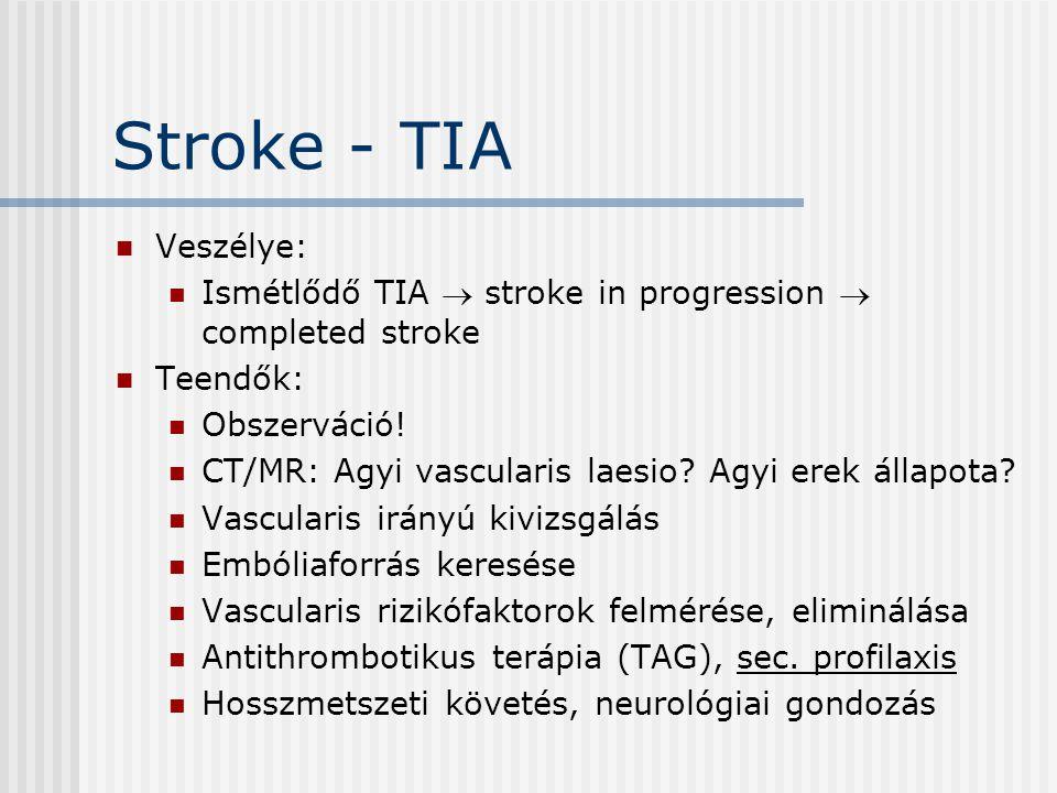 Stroke - TIA Veszélye: Ismétlődő TIA  stroke in progression  completed stroke. Teendők: Obszerváció!