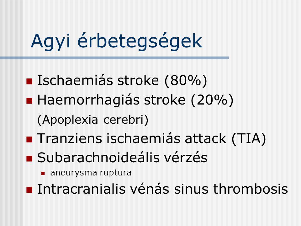 Agyi érbetegségek Ischaemiás stroke (80%) Haemorrhagiás stroke (20%)