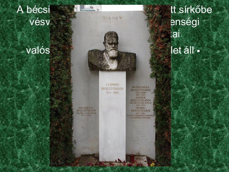 A bécsi Zentralfriedhofban felállított sírkőbe vésve az entrópia (S, rendezetlenségi mérték ) és a termodinamikai valószínűség (W) közötti egyenlet áll.