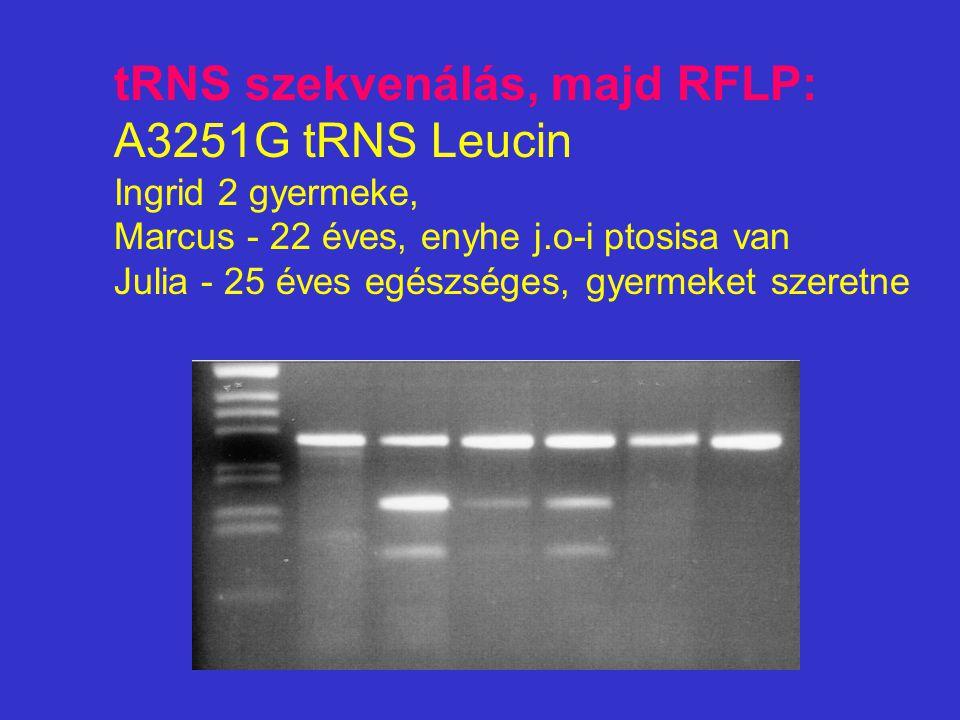 tRNS szekvenálás, majd RFLP: A3251G tRNS Leucin