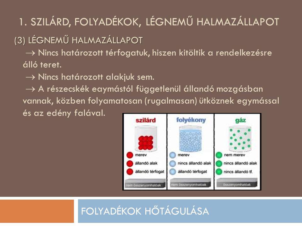 1. SZILÁRD, FOLYADÉKOK, LÉGNEMŰ HALMAZÁLLAPOT