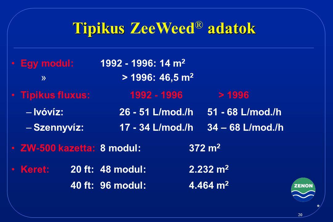 Tipikus ZeeWeed® adatok