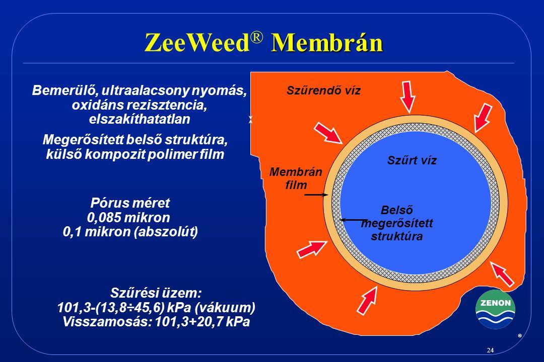 ZeeWeed® Membrán Bemerülő, ultraalacsony nyomás, oxidáns rezisztencia,