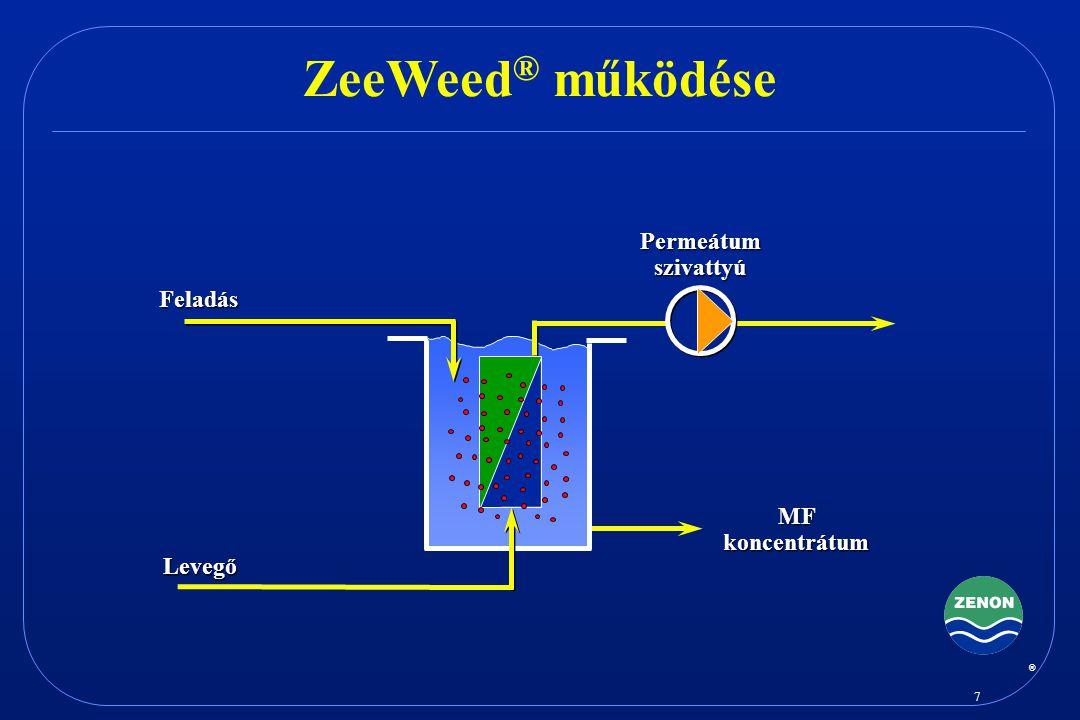 ZeeWeed® működése Permeátum szivattyú Feladás MF koncentrátum Levegő