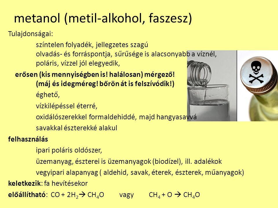 metanol (metil-alkohol, faszesz)