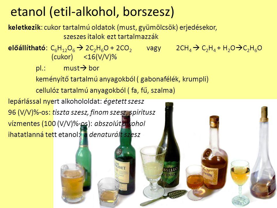 etanol (etil-alkohol, borszesz)