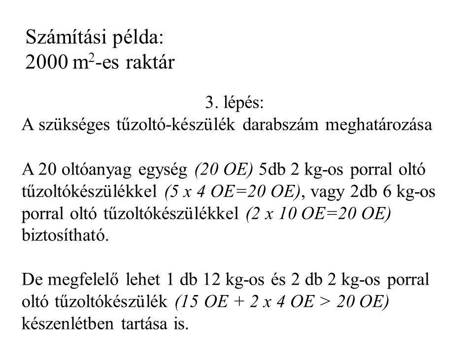 Számítási példa: 2000 m2-es raktár 3. lépés: