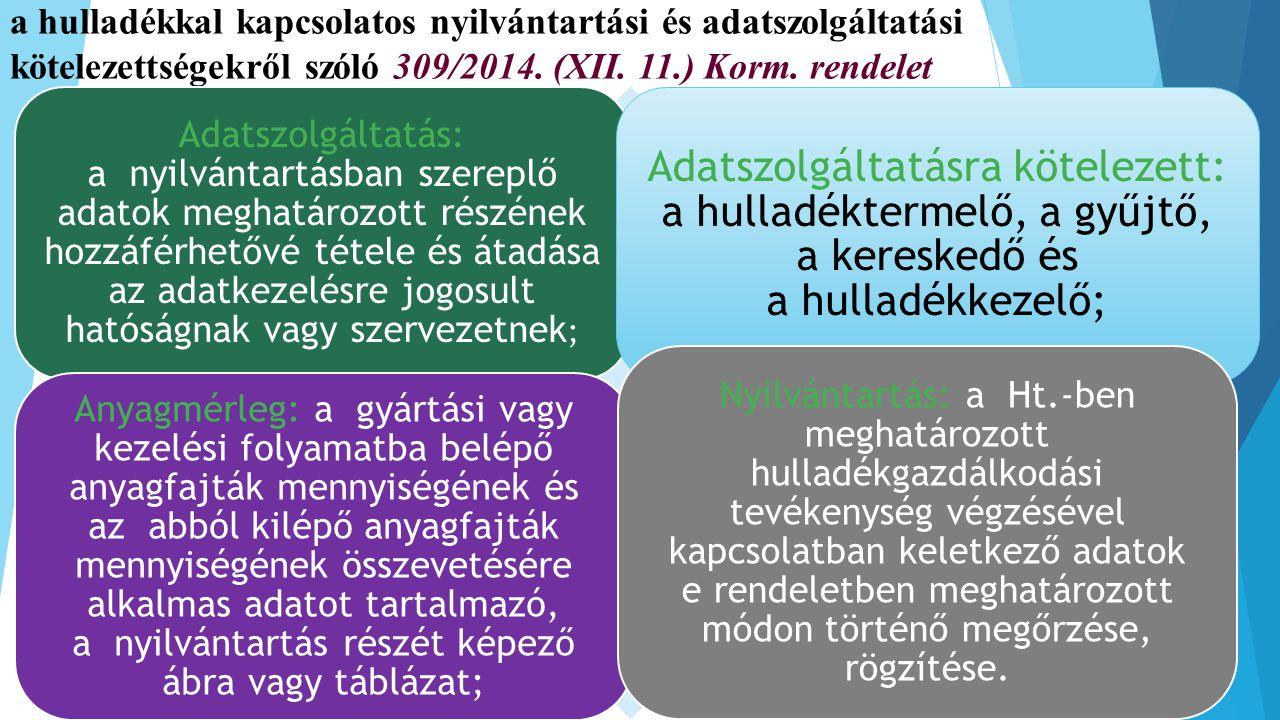 a hulladékkal kapcsolatos nyilvántartási és adatszolgáltatási kötelezettségekről szóló 309/2014. (XII. 11.) Korm. rendelet