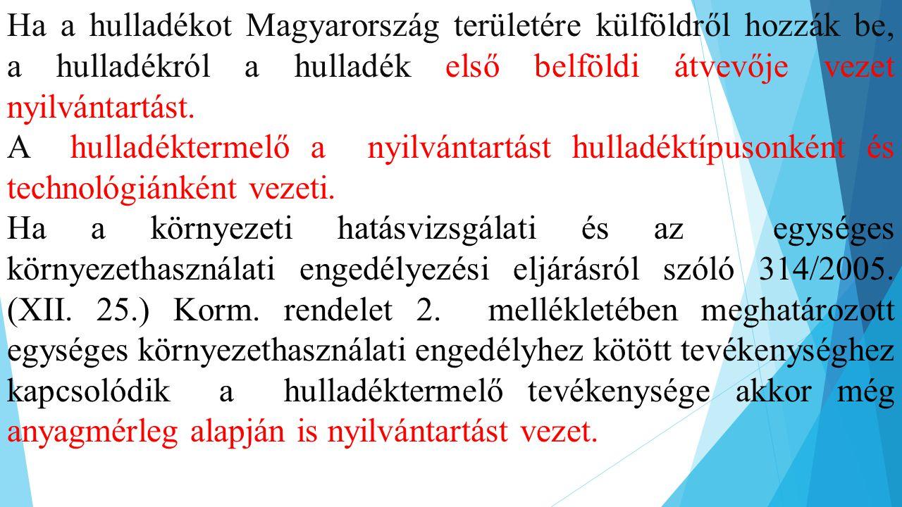 Ha a hulladékot Magyarország területére külföldről hozzák be, a hulladékról a hulladék első belföldi átvevője vezet nyilvántartást.