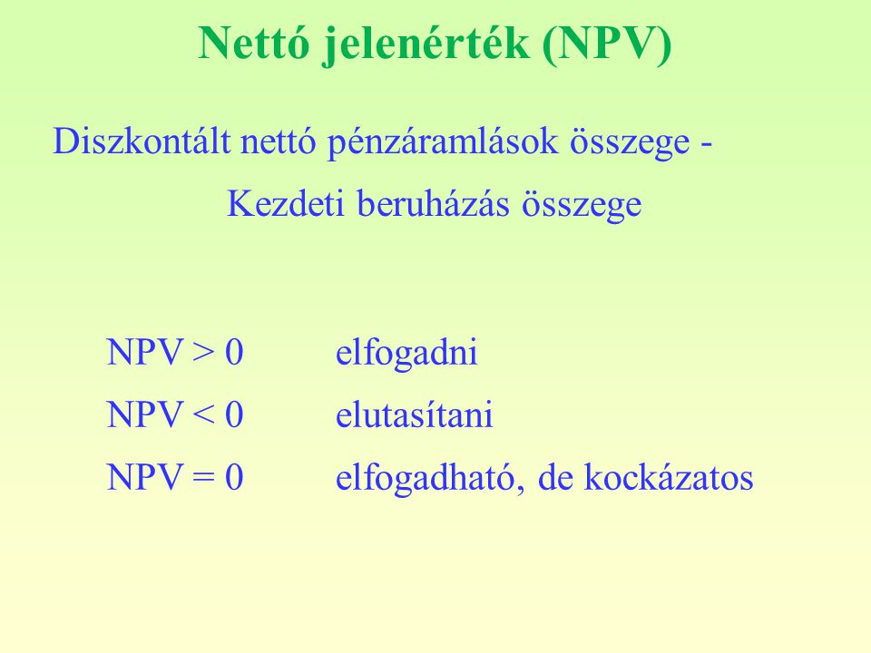 Nettó jelenérték (NPV)