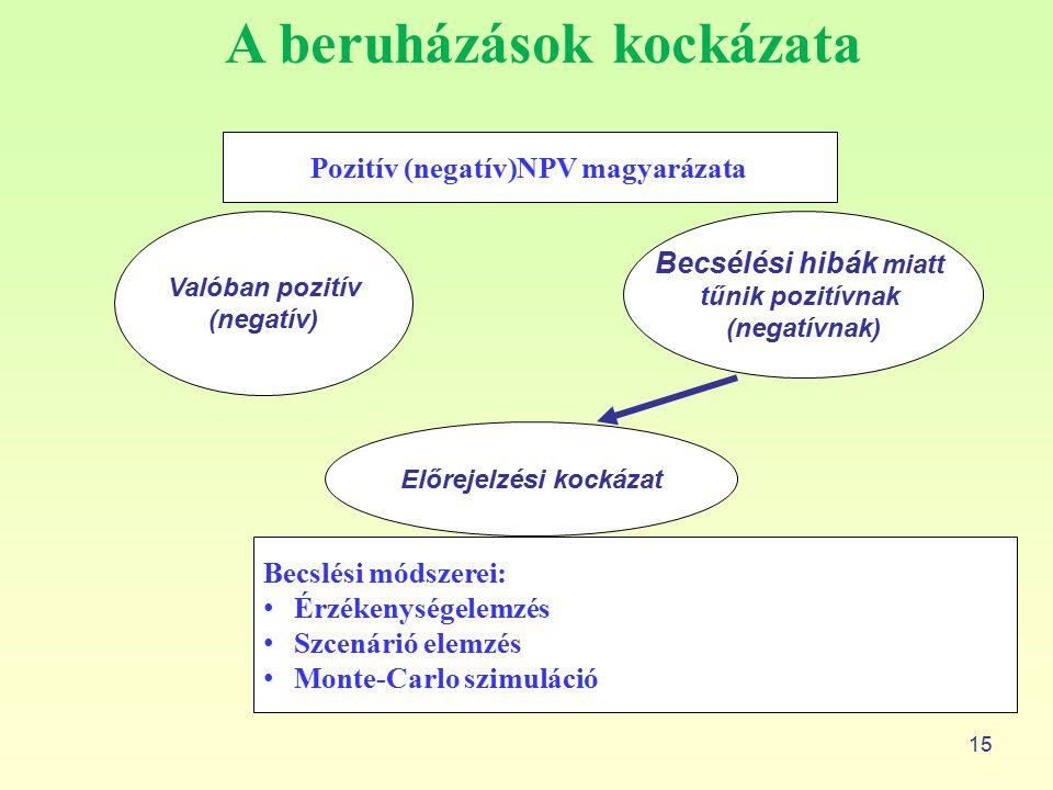 Pozitív (negatív)NPV magyarázata Előrejelzési kockázat