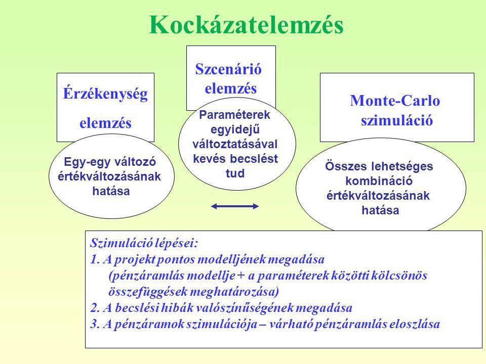 Kockázatelemzés Szcenárió elemzés Érzékenység Monte-Carlo elemzés