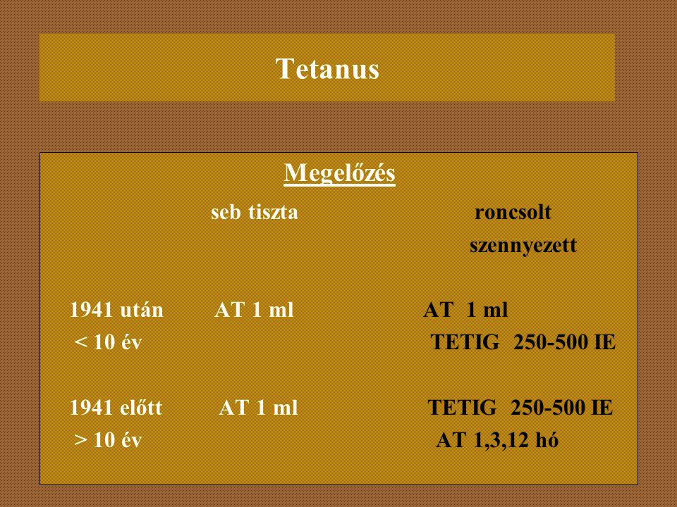 Tetanus Megelőzés seb tiszta roncsolt szennyezett