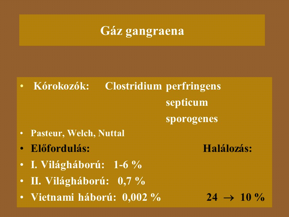 Gáz gangraena Kórokozók: Clostridium perfringens septicum sporogenes