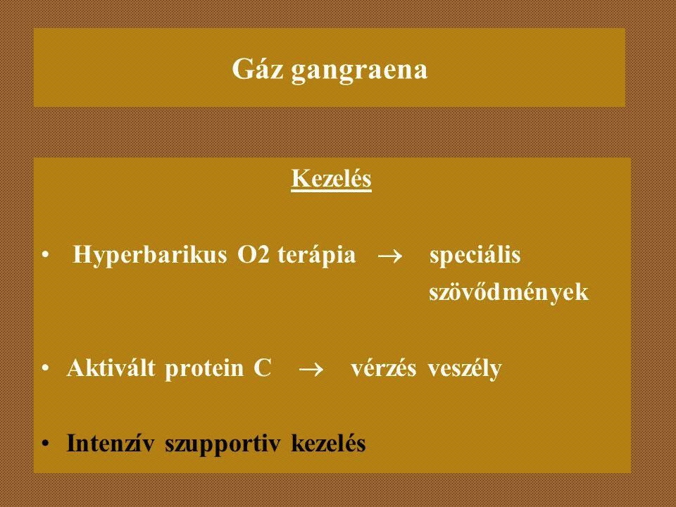 Gáz gangraena Kezelés Hyperbarikus O2 terápia  speciális szövődmények