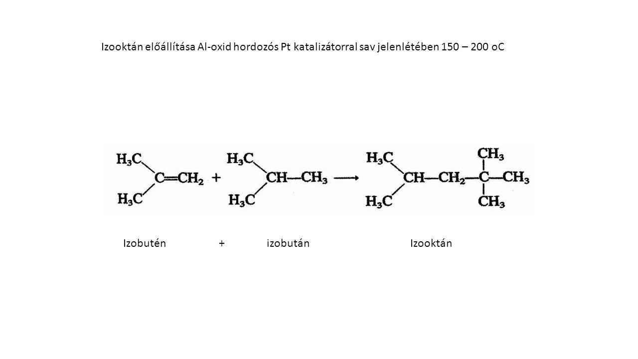 Izooktán előállítása Al-oxid hordozós Pt katalizátorral sav jelenlétében 150 – 200 oC